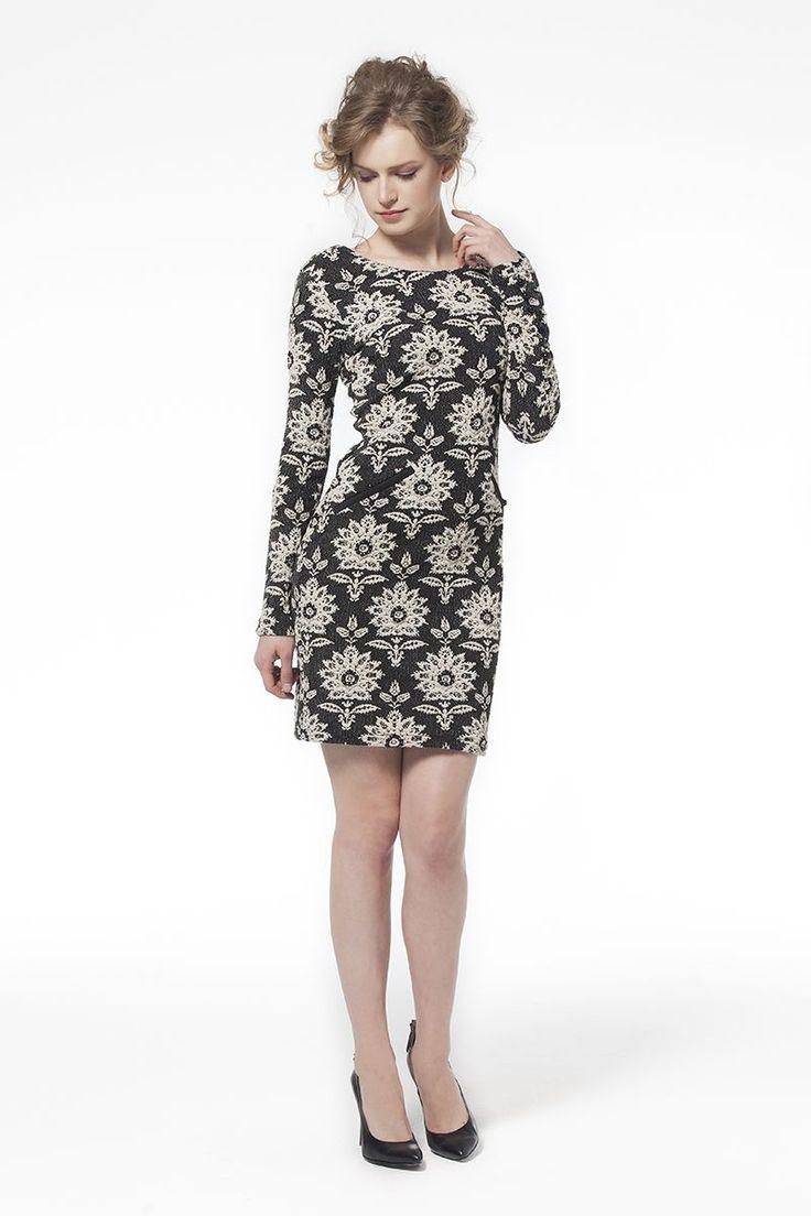 Jakarlı Elbise Siyah Beyaz Dantel Desenli Elbise Siyah Elbise En Trend Elbiseler 79,90 TL