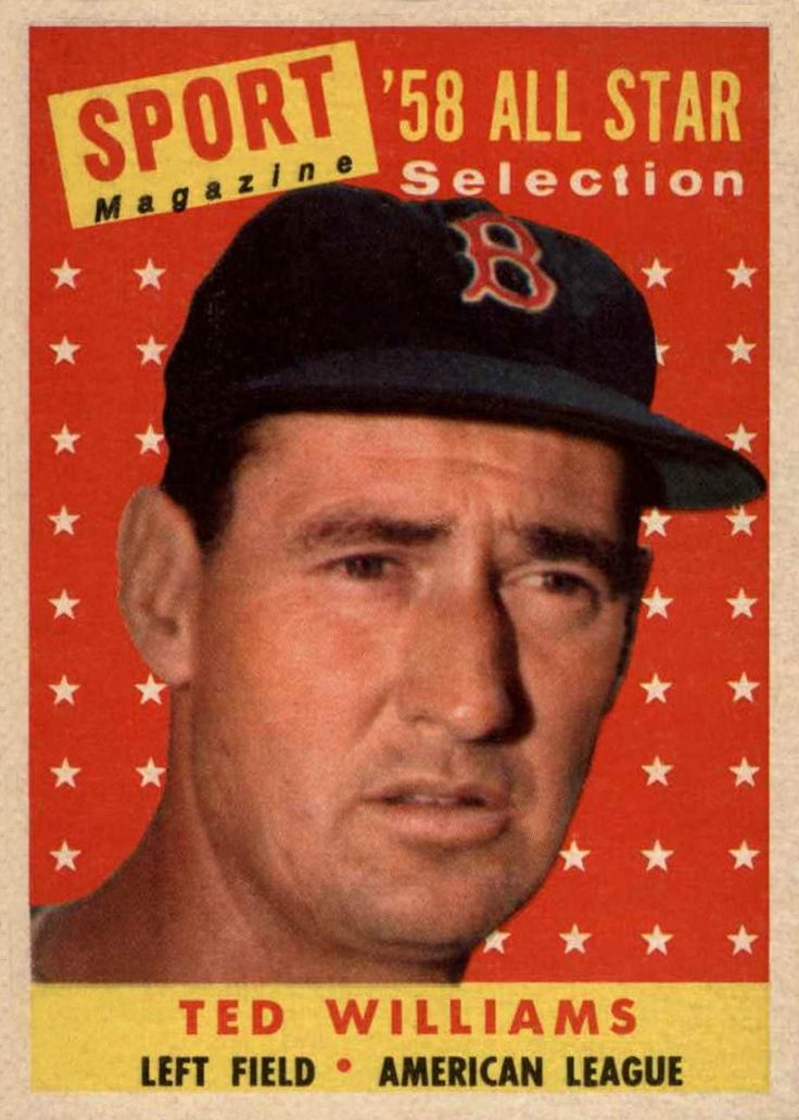 1958 topps ted williams all star ted williams baseball