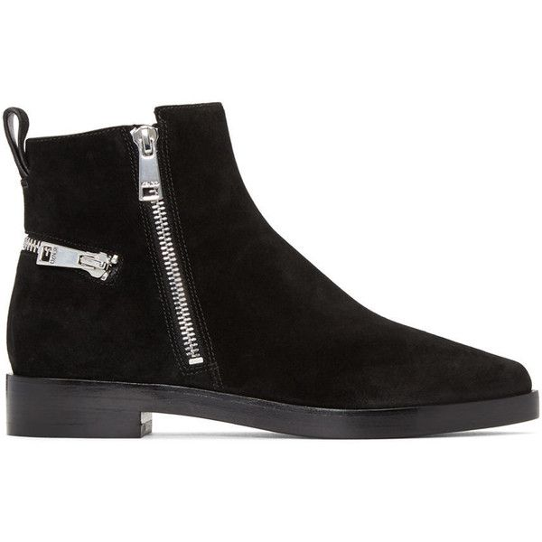 Kenzo Black Totem Ankle Boots (540 CAD) ❤ liked on Polyvore featuring shoes, boots, ankle booties, black bootie, suede bootie, suede ankle booties, pointed toe ankle boots and black suede booties