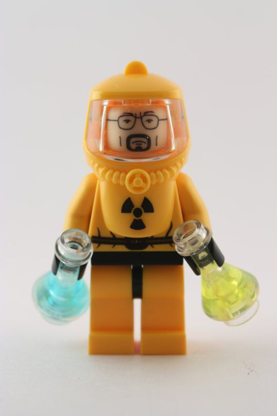 Breaking Bad's Walter White Custom Hazmat  minifigure complete with accessories shown