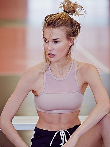 Delphine Bra | High neck racerback sports bra, featuring a double-lined front and supportive design. Sleek, modern shape in a moisture-wicking, quick-dry, performance fabric.  *By Olympia Activewear  *Please Note: The Nude color way features sheer micromesh inserts along the top and down the back.