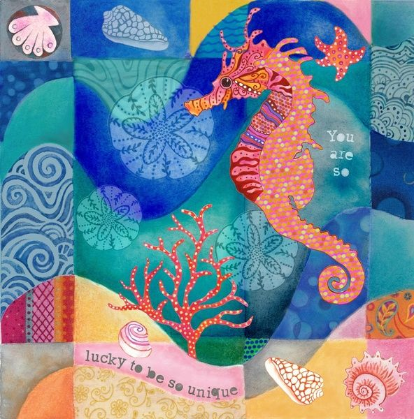Seahorse collage Art Print by Janet Broxon. https://society6.com/janetbroxon