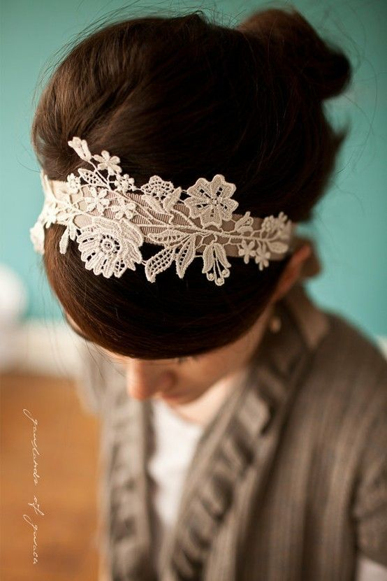 Easy and lovely!! a headband, fabric stiffener spray, and a lovely little piece of lace.