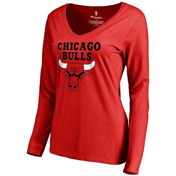 Women's Chicago Bulls Red Team Essential Long Sleeve T-Shirt