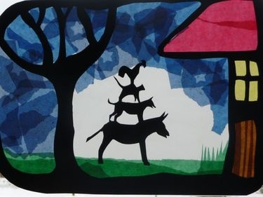 Bremen Town Musicians translucency with tissue paper  Could also use this with Cultural Arts Elective study on papercutting...