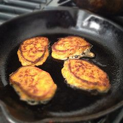 Sweet Potato Puffs. 1 Egg, 1/2 of previously baked sweet potato, 1 tablespoon crushe or minced pecans/ walnuts/ or almonds. Combine all ingredients and spoon onto hot griddle. Cook like a pancake. Cinnamon can be added if desired.