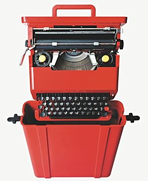 In the 1960s Sottsass started his career as a design consultant for Italian electronics company, Olivetti, (manufacturer of typewriters, computers, and other such products). The Valentine typewriter was a hit because of its portability and vibrant red colour.