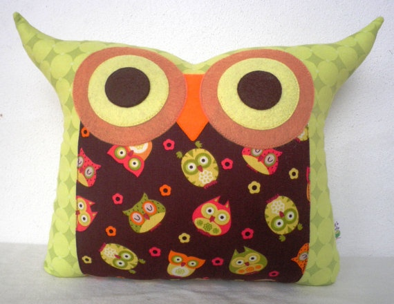 "Wow, this Etsy shop has some very adorable owl pillows....this is one of my favorites.  The name of the shop is ""Fong's Studio"""