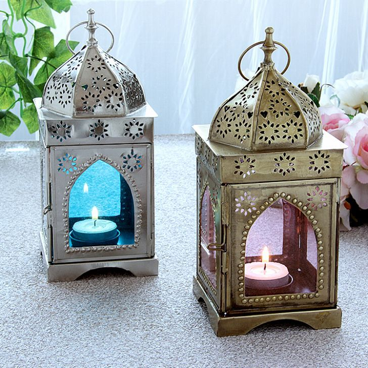 Home-decor-candles-Diwali-Illuminati Armenian Lantern Pink & Blue Set of Two Pieces - FabFurnish.com