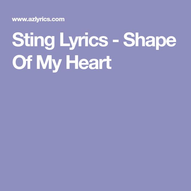Sting Lyrics - Shape Of My Heart