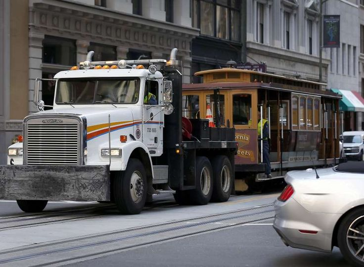 Massive power outage hits San Francisco, shuts down businesses, BART station, cable cars, traffic lights    A California Street cable car is towed back to the car barn after a massive power outage affected a widespread area of the city in San Francisco, Calif. on Friday, April 21, 2017.