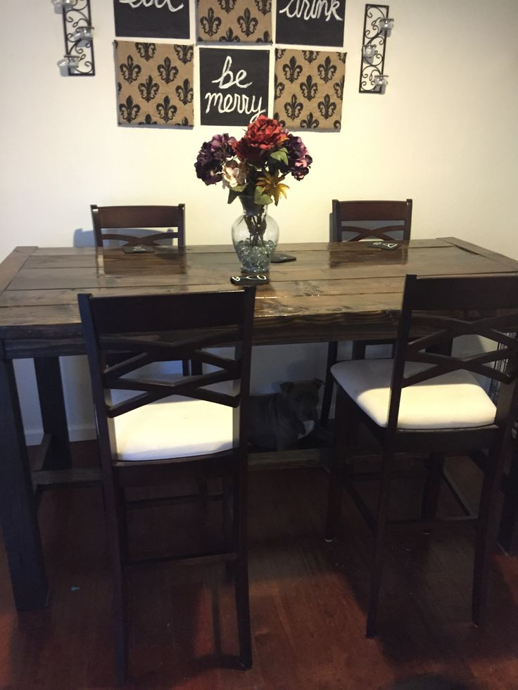 Diy Counter Height Farmhouse Dining Table Diy Farmhouse