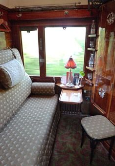 Orient Express LX-type sleeping-car compartment in day mode