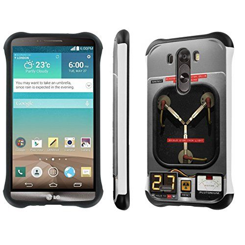 """Buy LG [G3] [5.5"""" Screen] Phone Case [NakedShield] [White/Black] Dual Armor Protective - [Flux Capacitor] for LG [G3] 4G LTE [D855] NEW for 10.95 USD 