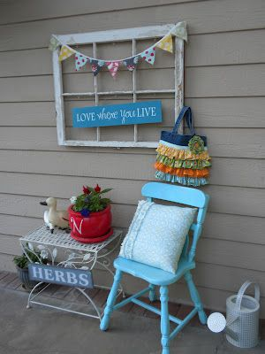love this old window idea for back deck decor!