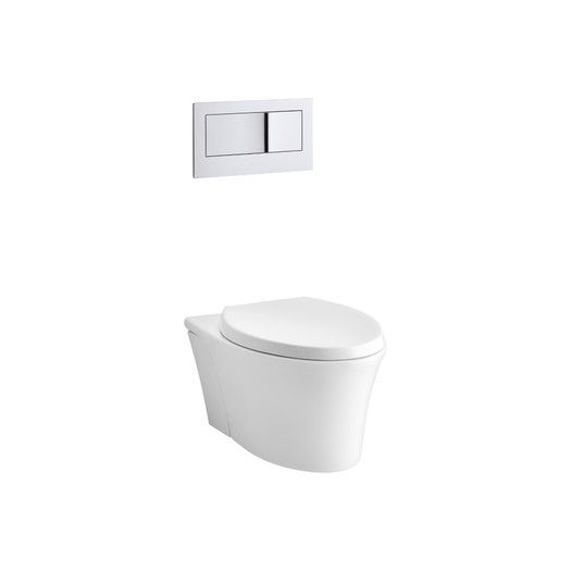 "Kohler Veil One-Piece Elongated Dual-Flush Wall-Hung Toilet with Reveal Quiet-Close Seat and 2""X6"" In-Wall Tank and Carrier System 