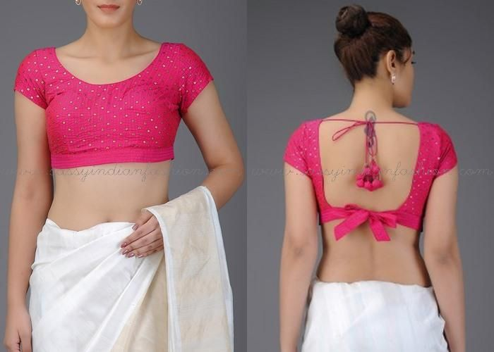 Simple Blouse Back Neck Designs for Silk Sarees