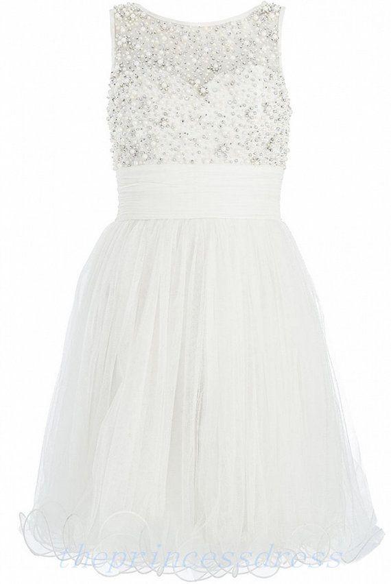 Short Tulle White Bridesmaid Dress / Short White Prom Dress / Cheap White Plus Size Prom Dress / Short White Wedding Dress 2014 US Under 200