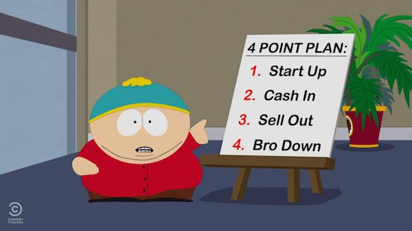 "This particular image refers to ""crowdfunding,"" which is an online way of raising money for a project. Here from a South Park episode satirically telling a story about crowdfunding."