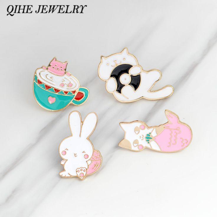 Cat Pin Rabbit Tea Cup Mermaid Pink Lapel Badge Cute Animal