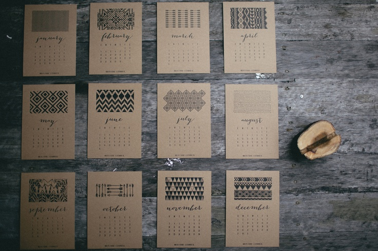 Birds of a Feather - A Letterpress Co. 2013 Letterpress TRIBAL desktop Calendar in Natural - 12 individual letterpress cards and wood stump. $30 + postage - to purchase email info@birdsofafeatherco.com.au