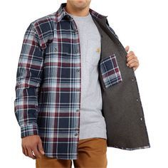 Carhartt Youngstown Flannel Shirt Jacket - Thermal Lining (For Men) in Deep Blue