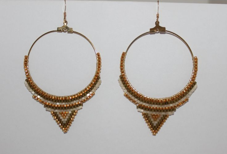 Boucles d'oreilles créoles tissage peyote miyuki dorée/kaki dima Kheira