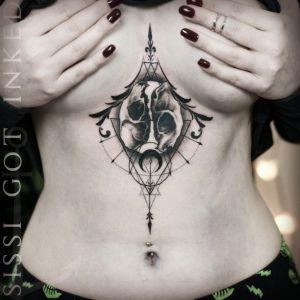 vienna tattoo studio wien ink booster eternal ink cheyenne sacred geometry underboob tattoo sternum blackwork blacktattoo blackworker underboob sissi got inked