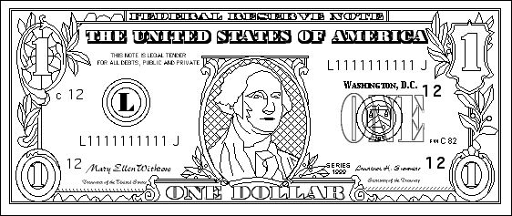 dollar bill coloring page for kids Preschool