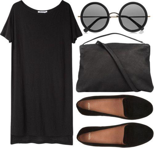 "fashionfever:  ""black"" mood by onanarihanna featuring black suede flats"