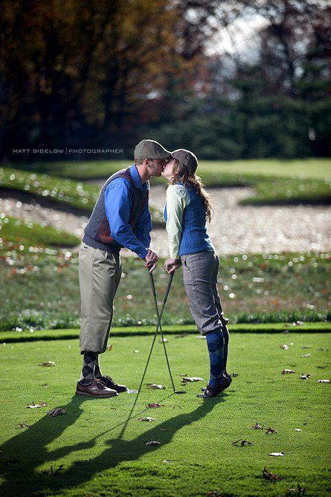 Vintage Golf Engagement theme -- Sandy Pines, Demotte, Indiana.