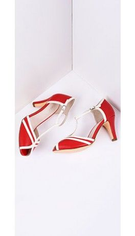 Red & Ivory Leatherette Peep Toe T-Strap Pump