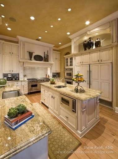 Granite counters on white cabinets
