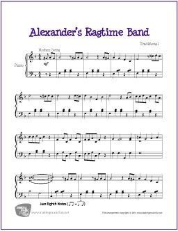 Alexander's Ragtime Band | Free Sheet Music for Piano - http://makingmusicfun.net/htm/f_printit_free_printable_sheet_music/alexanders-ragtime-band-piano.htm