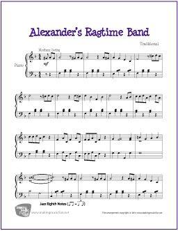 Alexander's Ragtime Band   Free Sheet Music for Piano - http://makingmusicfun.net/htm/f_printit_free_printable_sheet_music/alexanders-ragtime-band-piano.htm