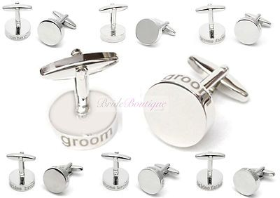 Silver Colour Engraved Round Wedding Role Title Cufflinks Groom Best Man Usher | eBay