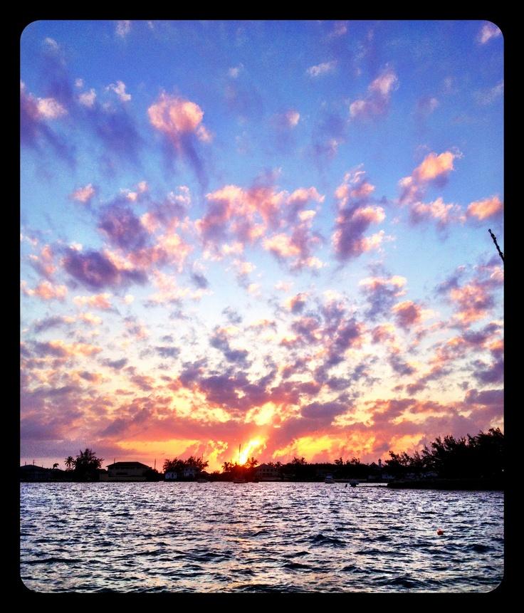 Sunset over Georgetown, Bahamas.