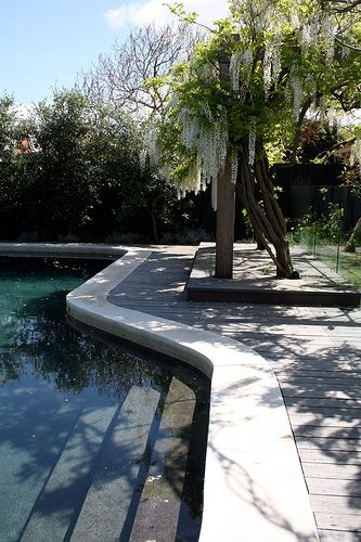 pool surround - poured concrete lip with decking boards flush to surround.