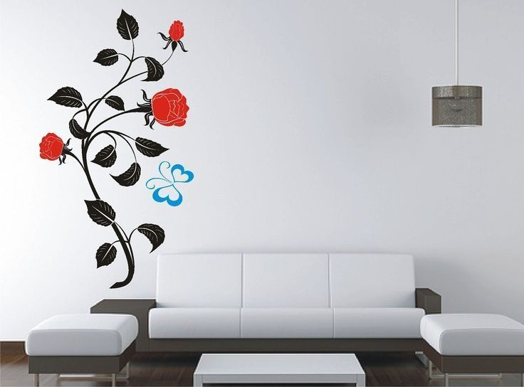 Roses And Butterfly Removable Wall Sticker, Vinyl Decal, Wall Tattoo, Home  Decor.
