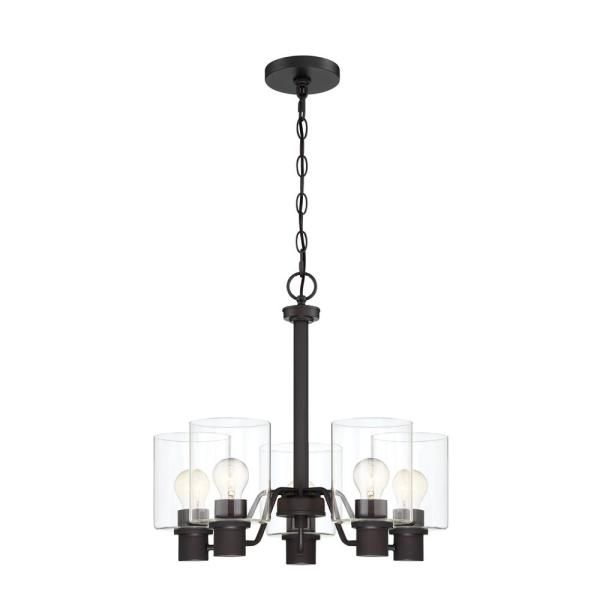 Cordelia Lighting 5 Light Satin Bronze Chandelier With Clear Glass Shades 2588 34 The Home Depot Bronze Chandelier Light Satin Glass Shades