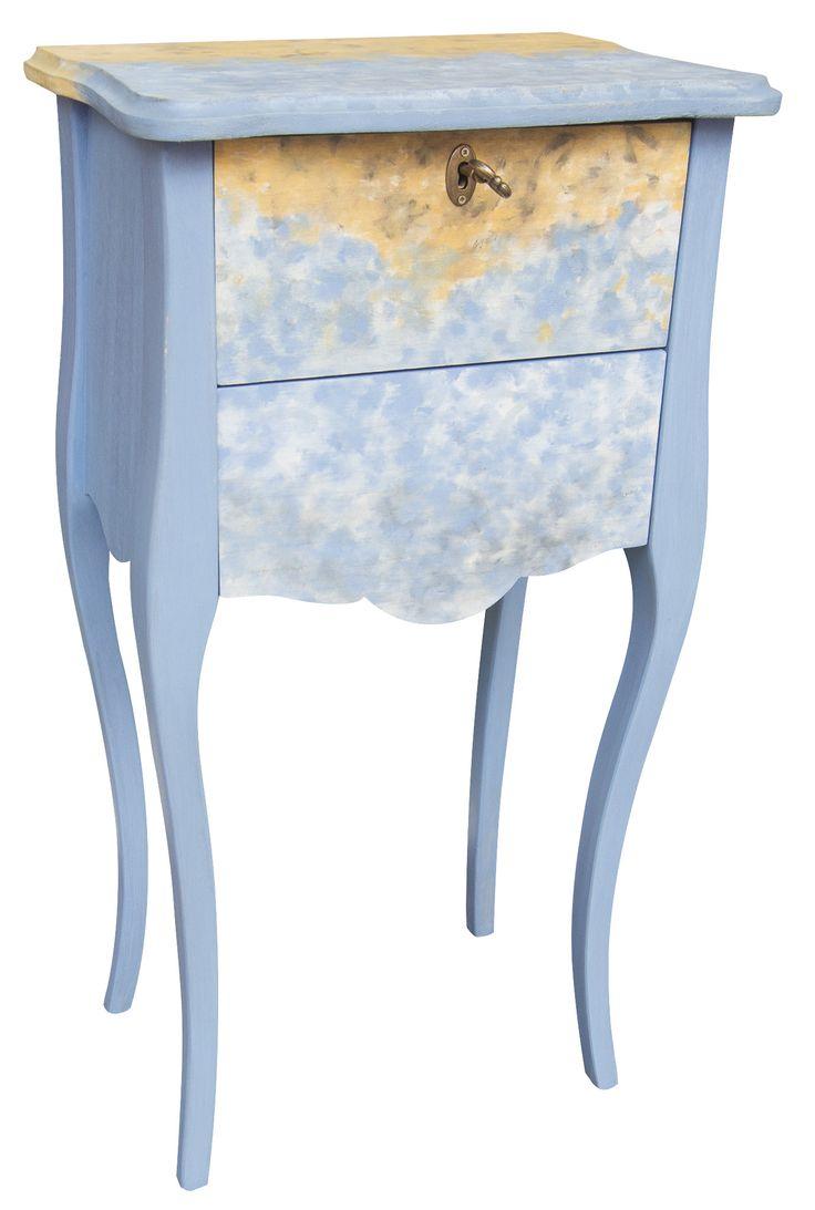 Mesilla, estilo vintage, pintada a mano, en color azul grisáceo y ocre.