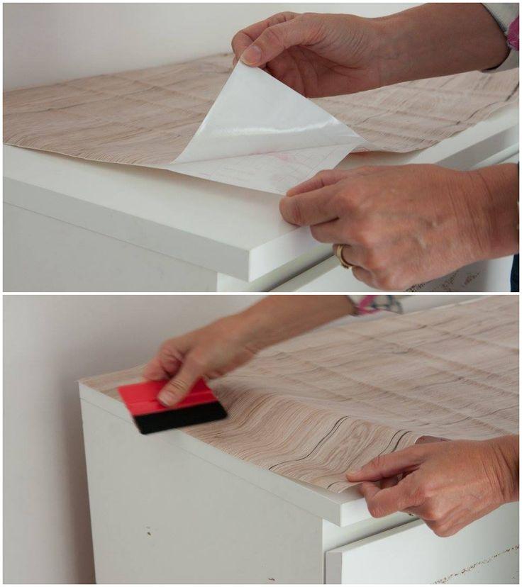 Steg-for-steg: Hvordan oppgradere kommoden med kontaktplast ✨     #diy #kontaktplast #treverk #gjenbruk #howto
