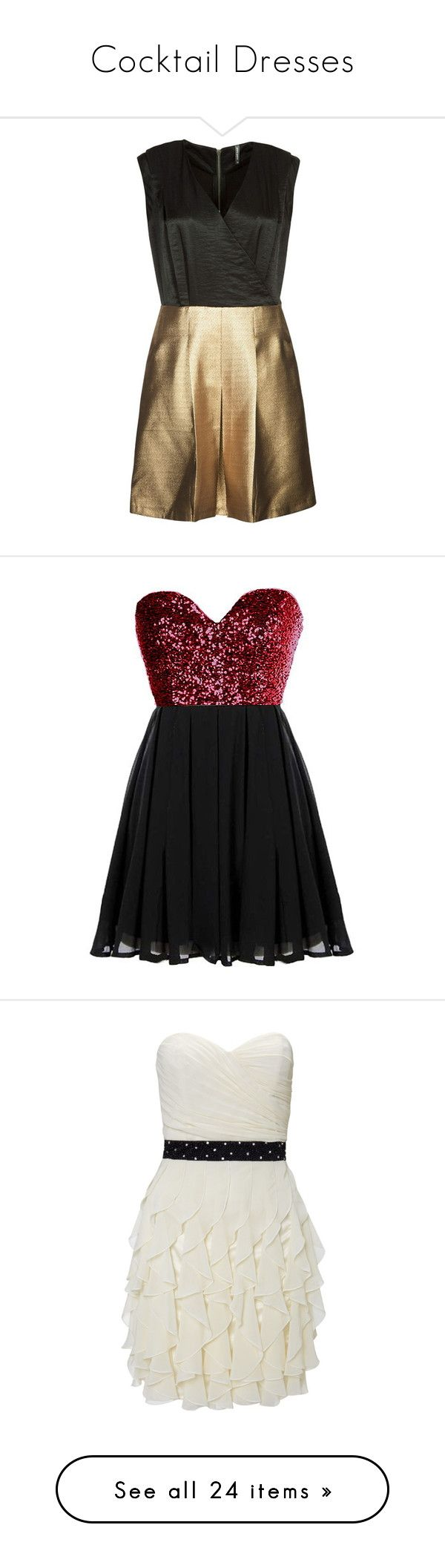 """Cocktail Dresses"" by vladakrut ❤ liked on Polyvore featuring dresses, vestidos, jumpsuits, playsuits, gold, naf naf, short dresses, robe, red sequin dress and red sparkly dress"