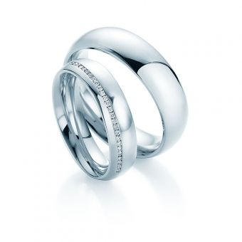 Eheringe Romance in Weißgold mit Diamanten