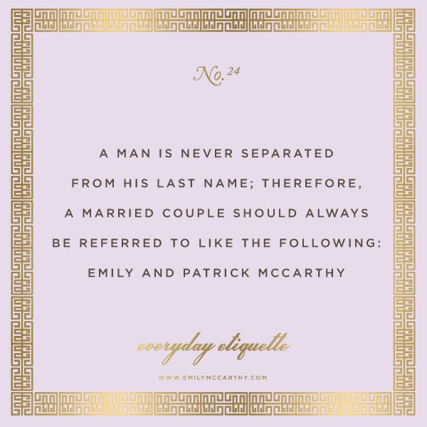 I wish more brides & wives knew this! The lady is always first -KP