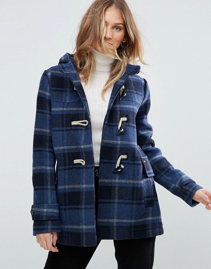Pepe Jeans Pearl Check Wool Blend Duffle Coat - Navy