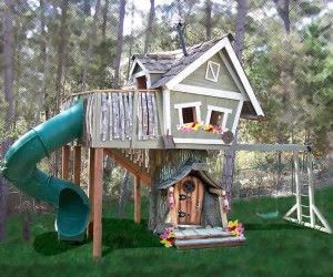 back yard play set with swing