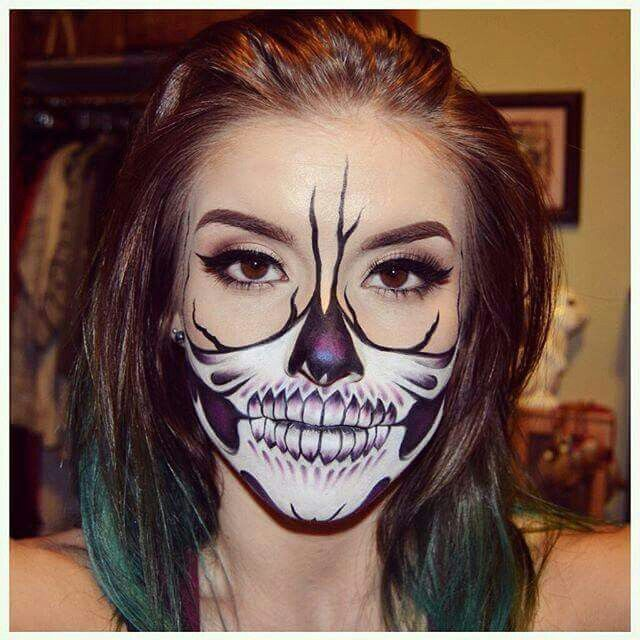 inspo from half skull makeup look i did this look using face body paints in white and black pressed eyeshadow in promiscuous eyeshadow tattoo liner and - Halloween Skull Face Paint Ideas