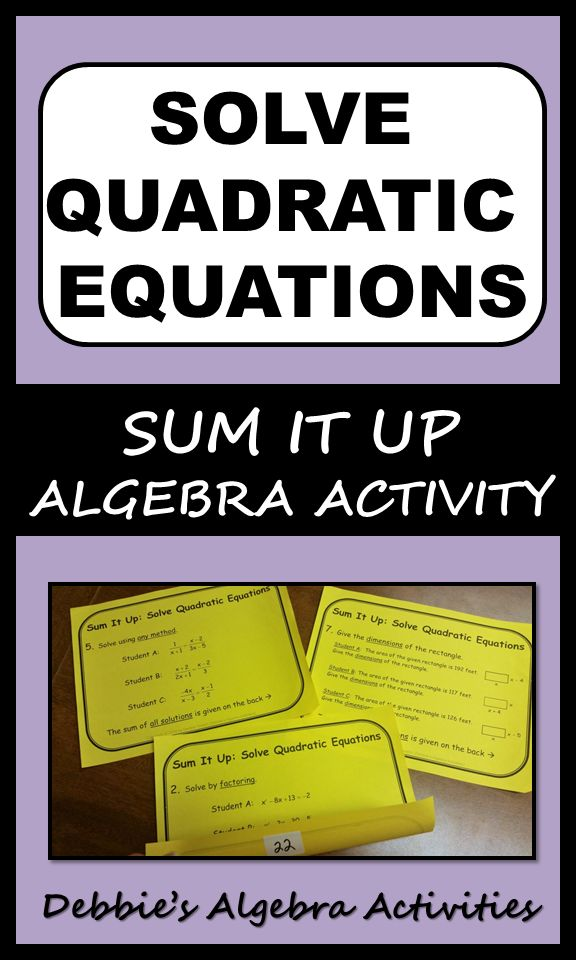 This is a great Algebra activity to solve quadratic equations by inverse operations, factoring and the quadratic formula. Includes proportions, area of rectangles and word problems using a vertical motion model. It has seven stations to use as practice or review.