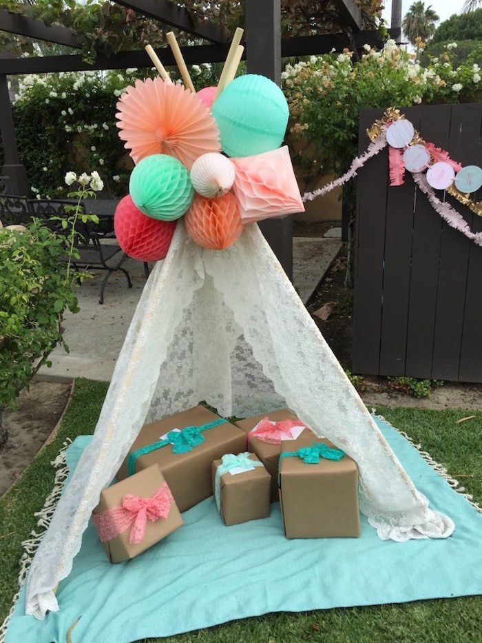 Present teepee from Boho Dreams Baby Shower Brunch at Kara's Party Ideas. See more at karaspartyideas.com!
